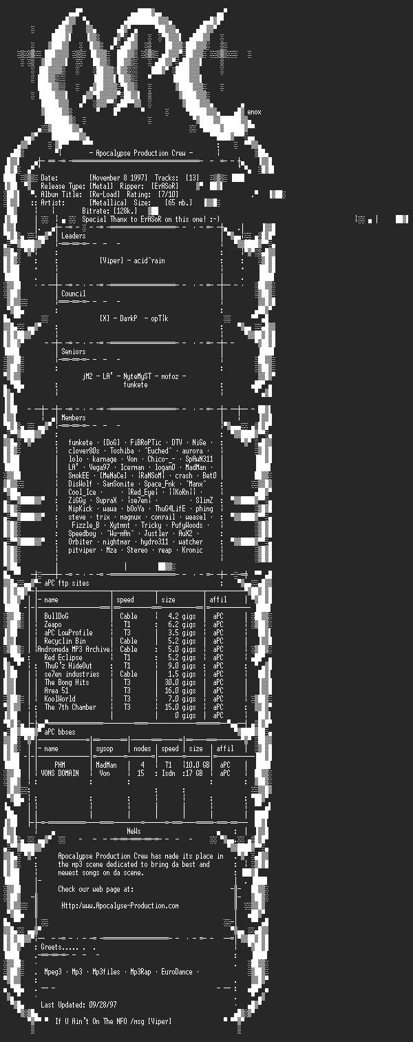 NFO file for Metallica-Reload-aPC