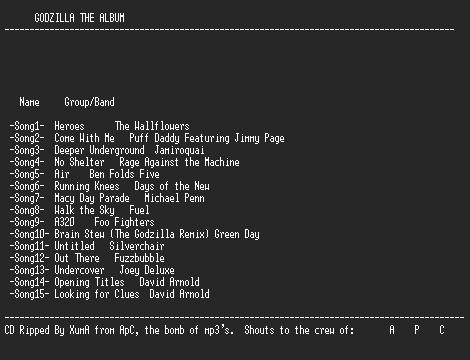 NFO file for Various-godzilla_the_album-apc-xuma