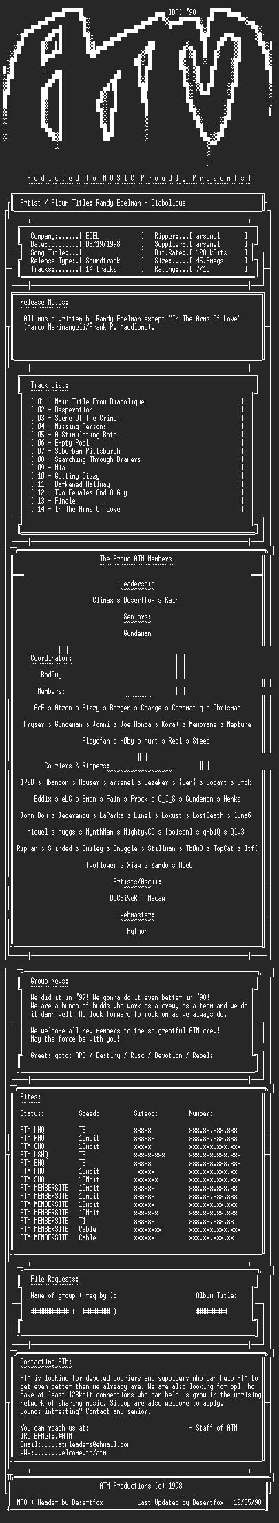 NFO file for Randy_Edelman_-_Diabolique_(1996)_-_ATM