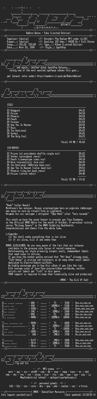 NFO file for Beborn.Beton-Fake.Limited.Edition-(1999)-AMOK