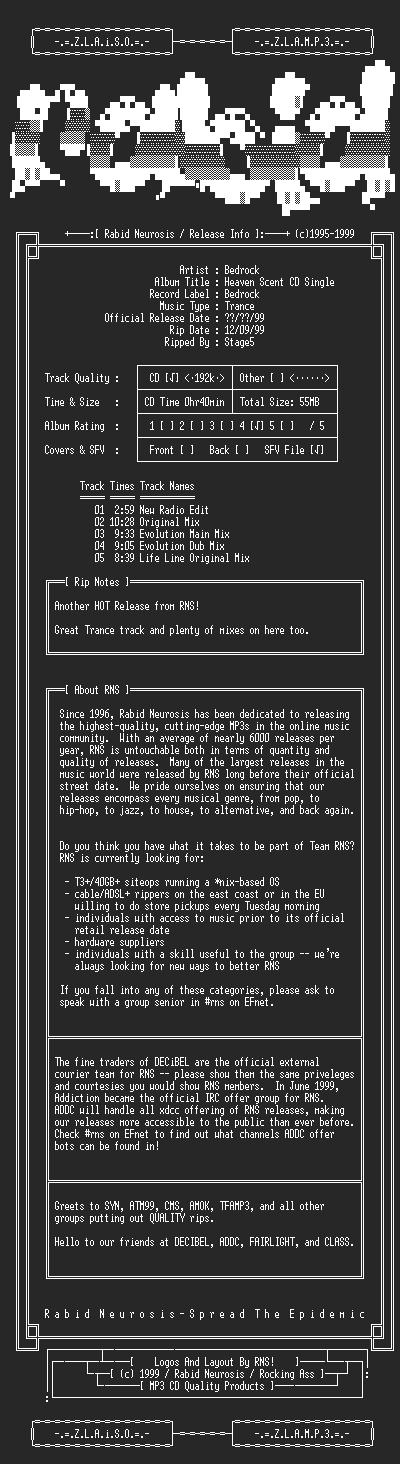 NFO file for Bedrock-Heaven_Scent_CD_Single-1999-RNS_House