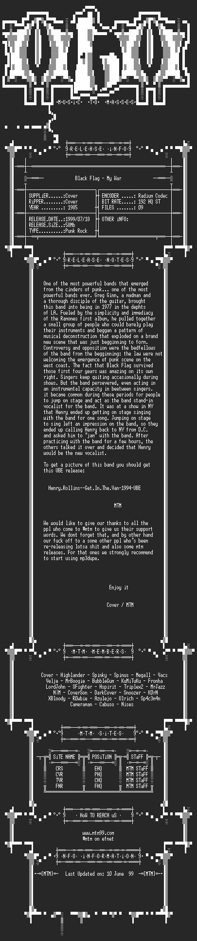 NFO file for Black_Flag_-_My_War_(1985)_-_MTM