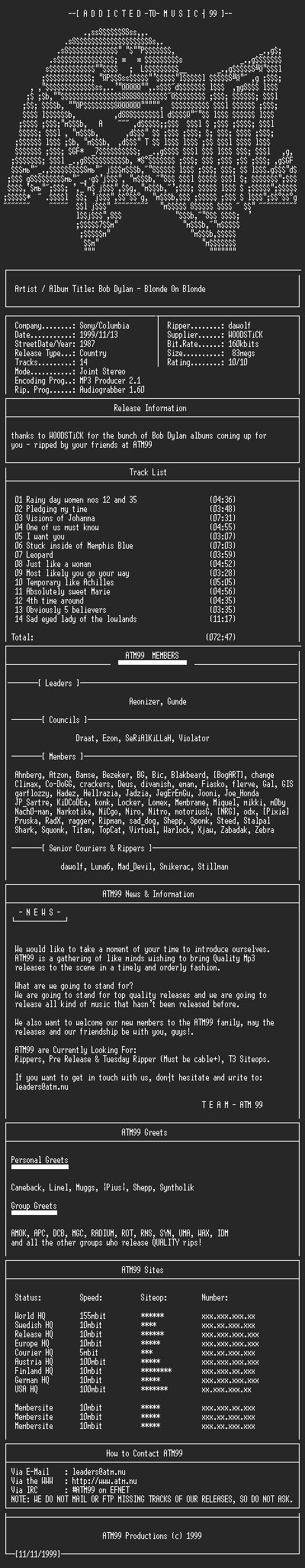 NFO file for Bob_Dylan_-_Blonde_On_Blonde_-_(1987)-ATM99