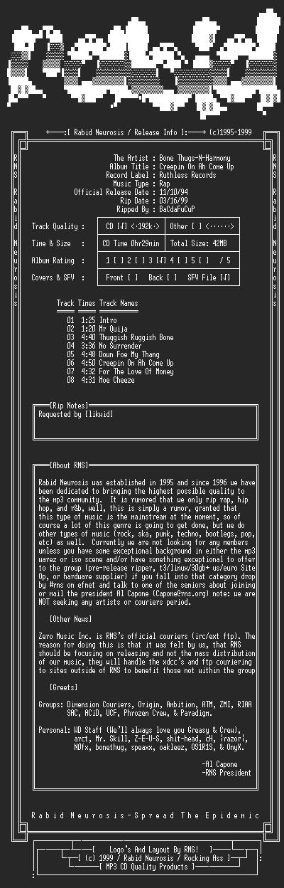 NFO file for Bone_Thugs-N-Harmony-Creepin_On_Ah_Come_Up-1994-RNS