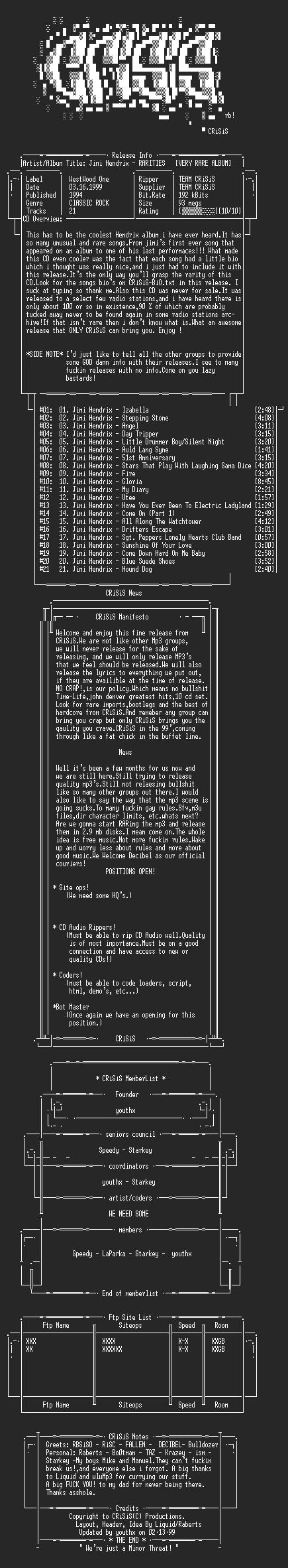 NFO file for Jimi_Hendrix_-_Rarities_-_(VERY_RARE_ALBUM)_-_(1994)_-_CRiSiS