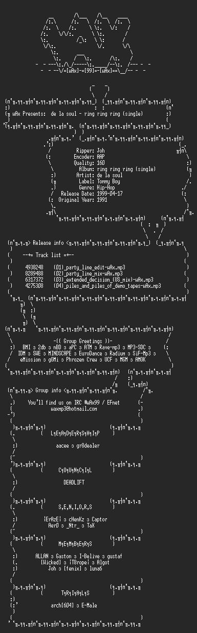 NFO file for De_la_soul_-_ring_ring_ring_-_single(1991)-wAx