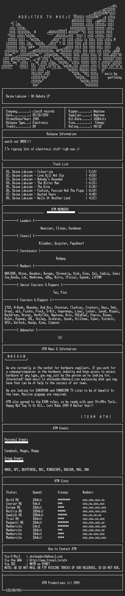 NFO file for Deine_Lakaien_-_86_Debute_LP_(1986)_-_ATM
