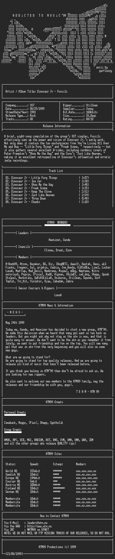 NFO file for Dinosaur_Jr_-_Fossils_(1991)-ATM99
