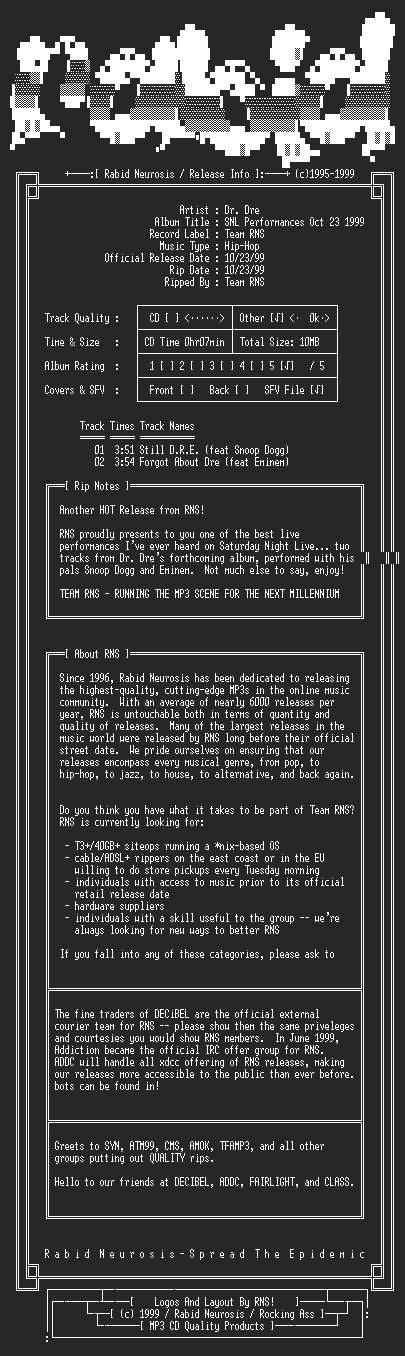 NFO file for Dr._Dre-SNL_Performances_Oct_23_1999-RNS