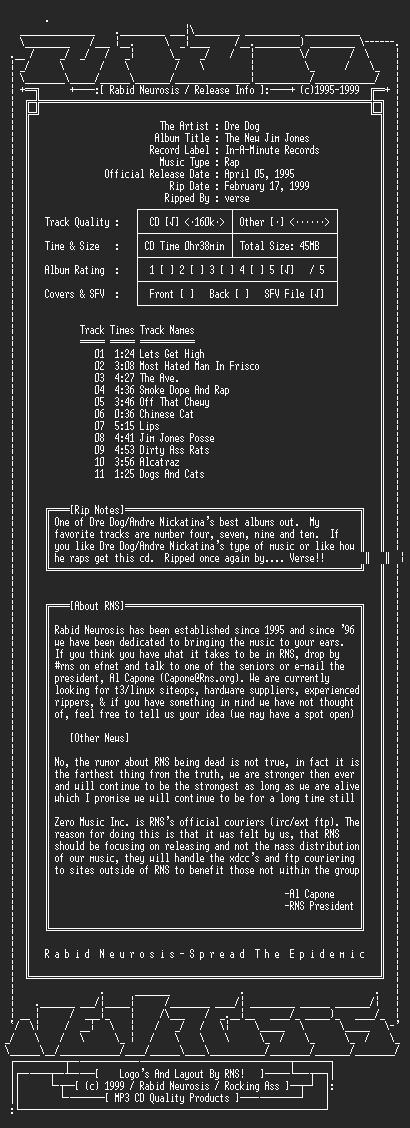 NFO file for Dre_Dog-The_New_Jim_Jones-1995-RNS