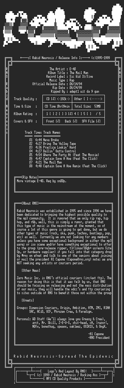 NFO file for E-40-The_Mail_Man-1994-RNS