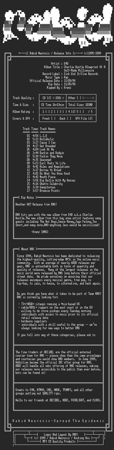 NFO file for E40-Charlie_Hustle_Blueprint_of_a_Self-made_Millionaire-1999-RNS