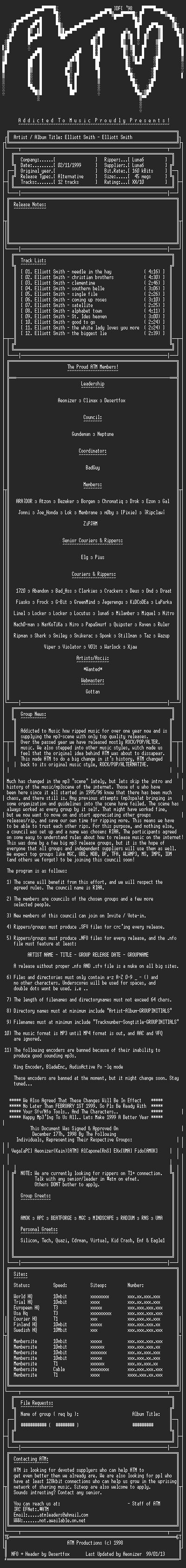 NFO file for Elliot_Smith_-_Self_Titled_-_(1994)_-_ATM