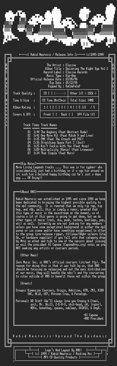 NFO file for Elusive-Decieving_The_Right_Eye_Vol_2-1999-RNS