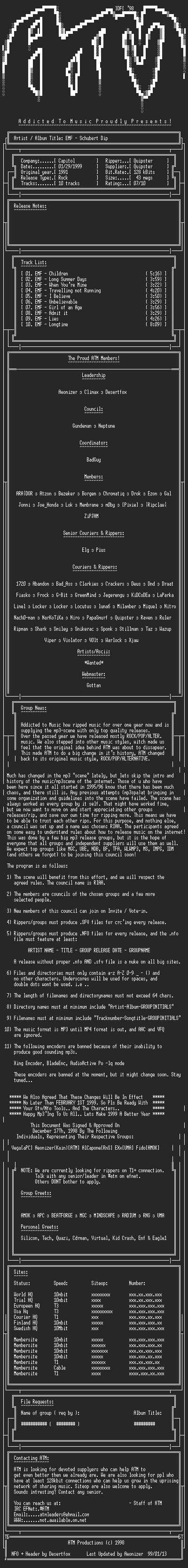 NFO file for EMF_-_Schubert_Dip_-_1991-ATM
