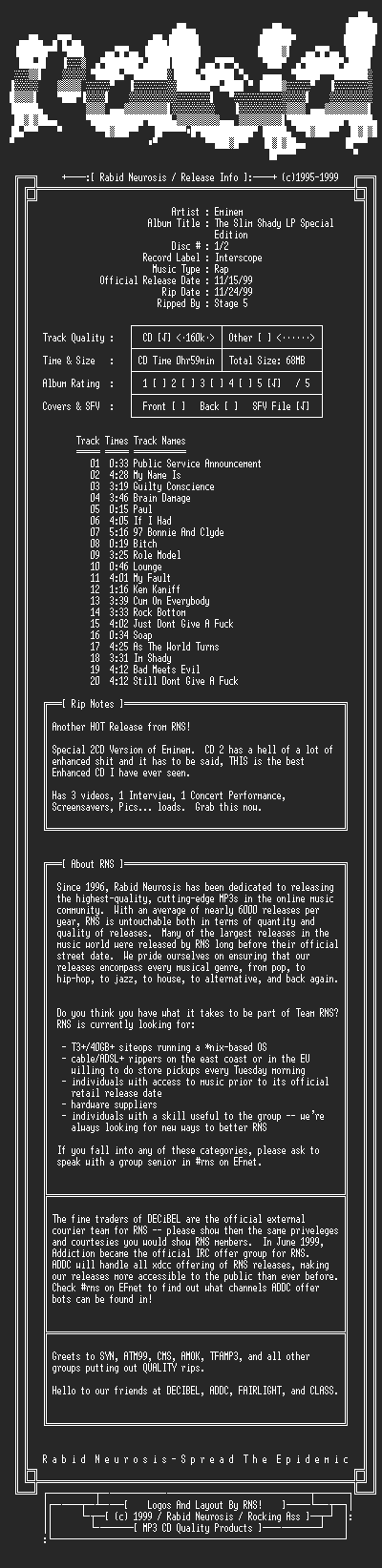 NFO file for Eminem-The_Slim_Shady_LP_Special_Edition-2CD-1999-RNS