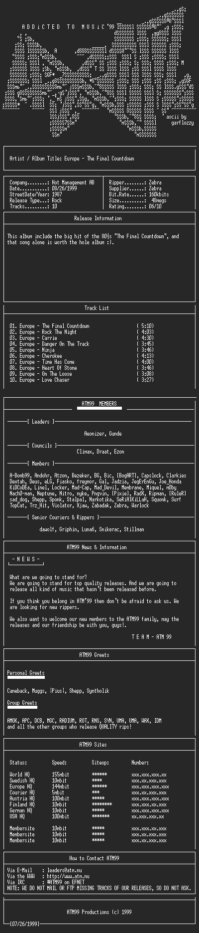 NFO file for Europe_-_The_Final_Countdown_-_(1987)-ATM99