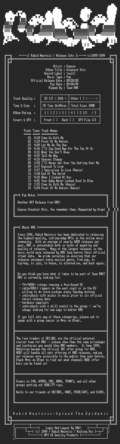 NFO file for Expose-Greatest_Hits-1992-RNS