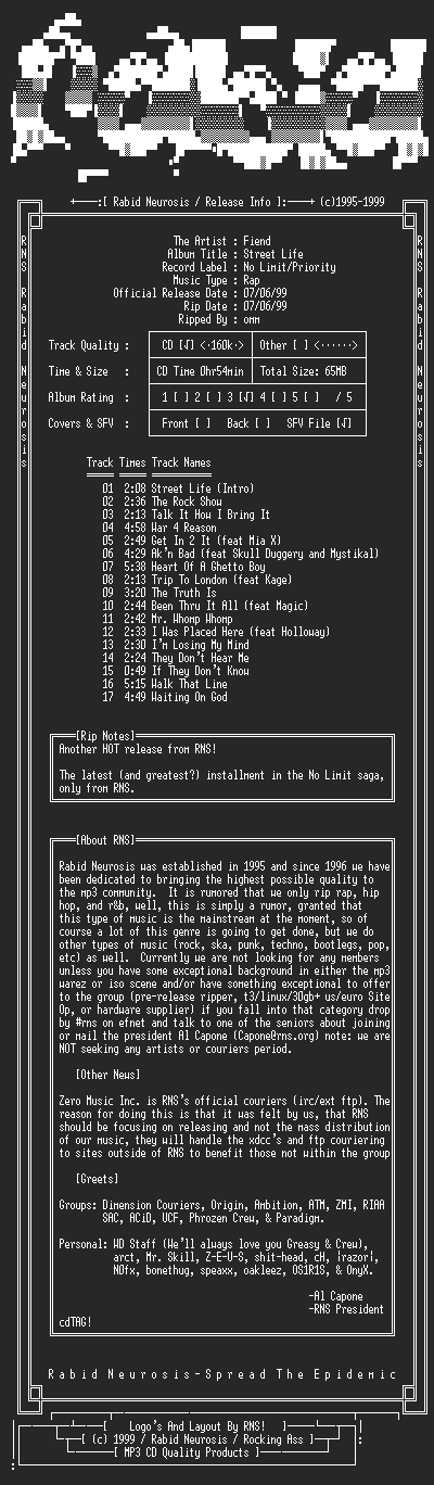 NFO file for Fiend-Street_Life-1999-RNS