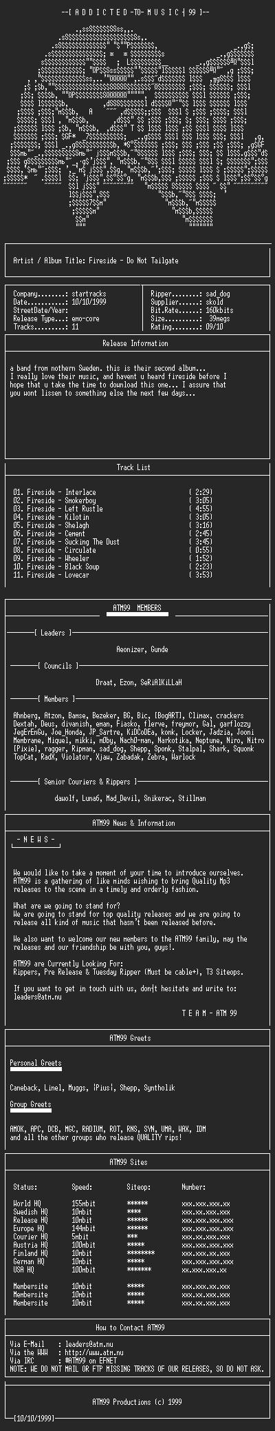 NFO file for Fireside_-_Do_Not_Tailgate_(1995)-ATM99