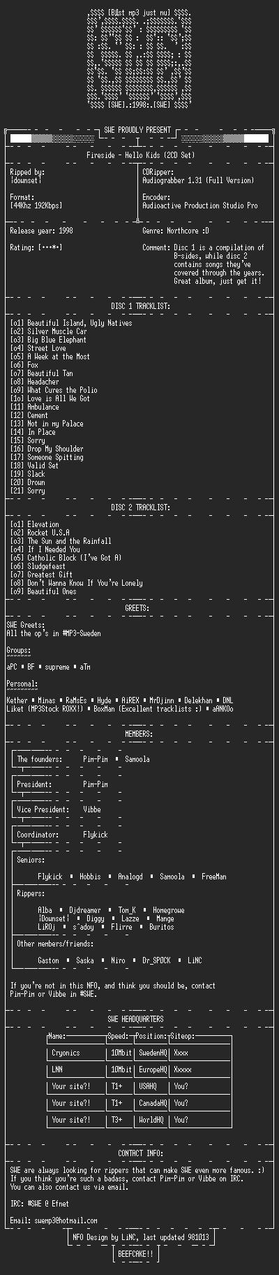 NFO file for Fireside_-_Hello_Kids-SWE