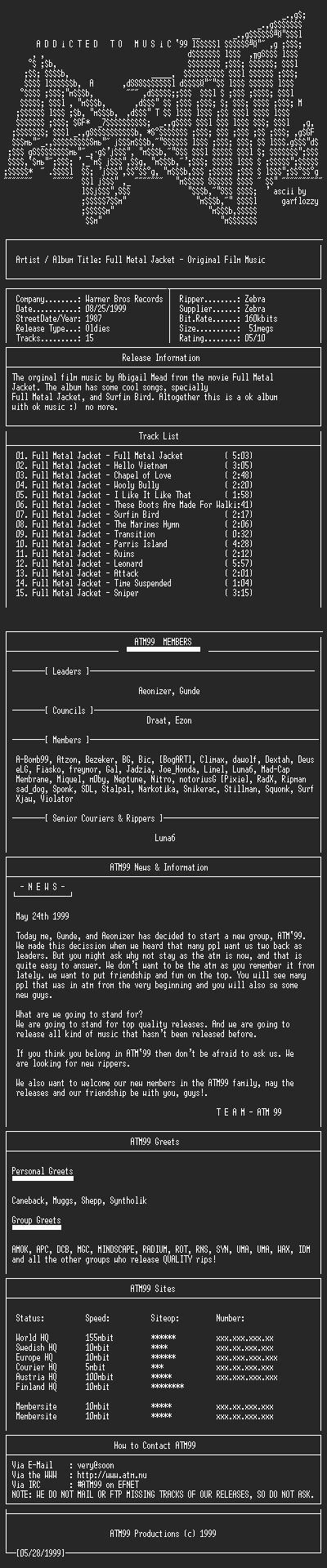 NFO file for Full_Metal_Jacket_-_Soundtrack_-_(1987)-ATM99
