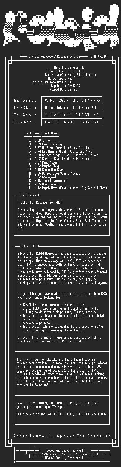 NFO file for Ganxsta_Nip-Psycho_Thug-1999-RNS
