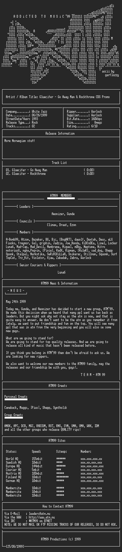 NFO file for Gluecifer_-_Go_Away_Man_-_Rockthrone_CDS_PROMO_(1998)-ATM99