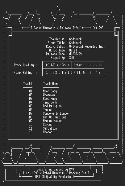 NFO file for Godsmack-Godsmack-1998-RNS