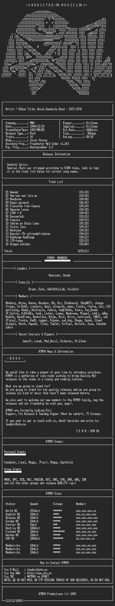 NFO file for Hoola_Bandoola_Band-1971-1976-ATM99