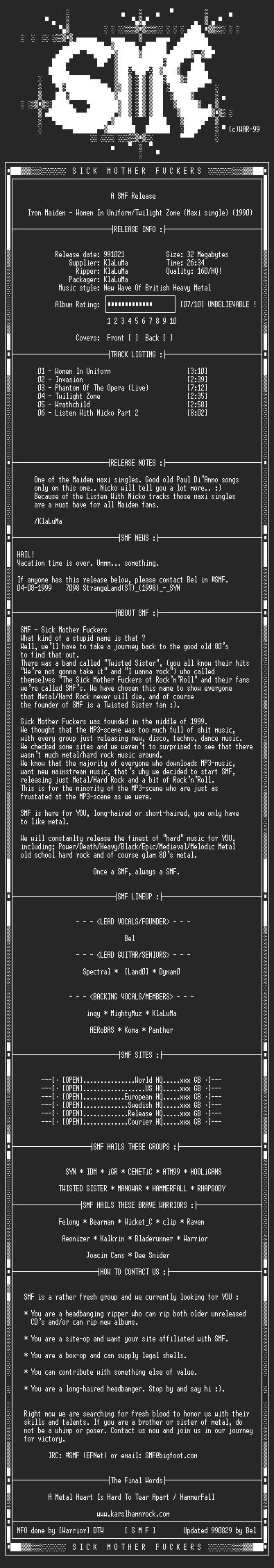 NFO file for Iron_Maiden-Women_In_Uniform_(Maxi_Single)_(1990)-SMF