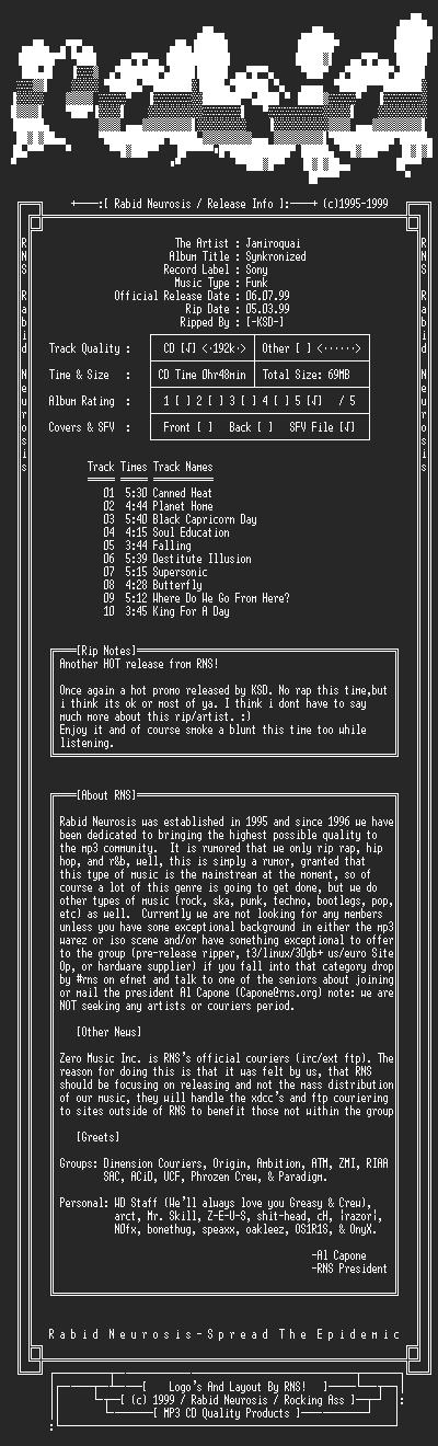 NFO file for Jamiroquai-Synkronized-1999-RNS