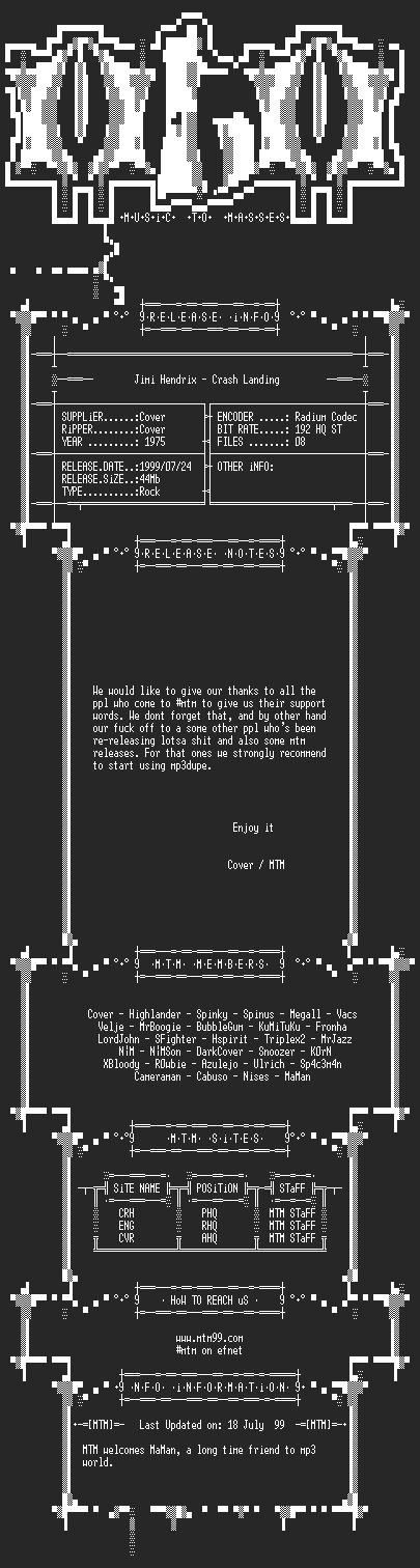 NFO file for Jimi_Hendrix_-_Crash_Landing_(1975)_-_MTM