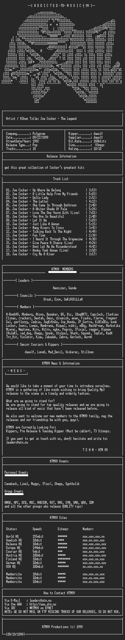 NFO file for Joe_Cocker_-_The_Legend_-_(1992)-ATM99