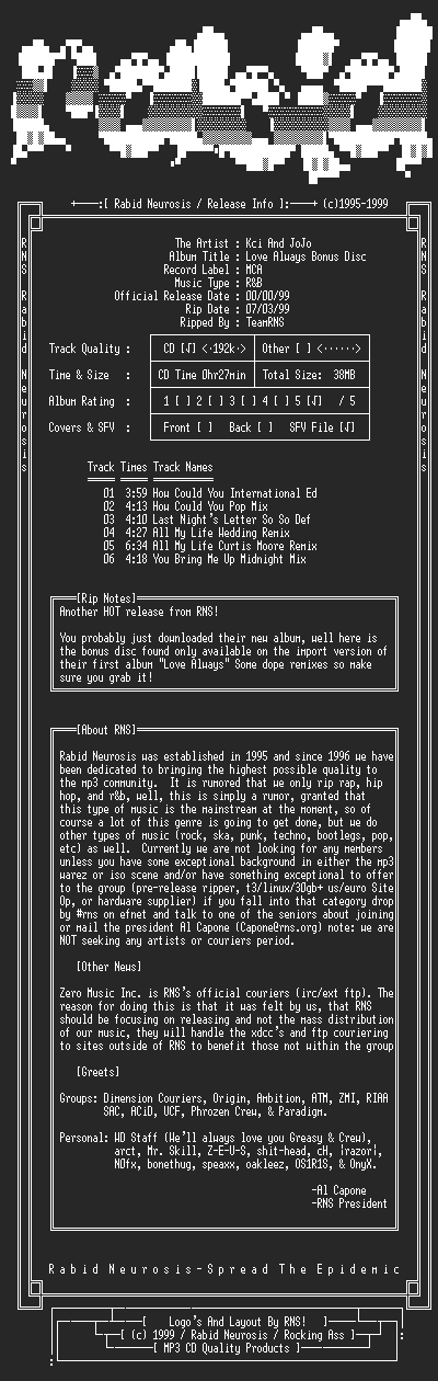 NFO file for Kci_And_JoJo-Love_Always_Bonus_Disc-1998-RNS