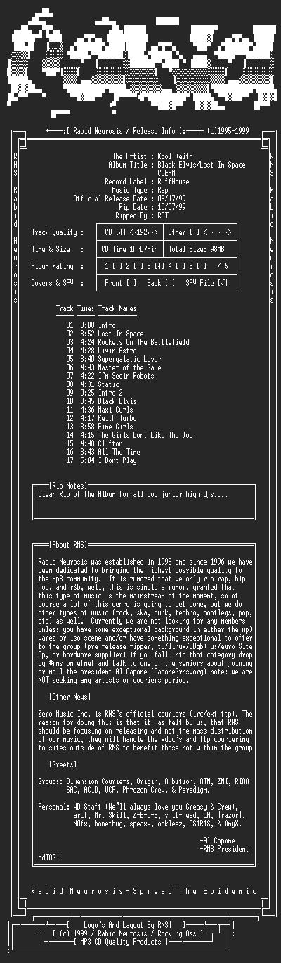 NFO file for Kool_Keith-Black_Elvis_Lost_In_Space_Clean-1999-RNS