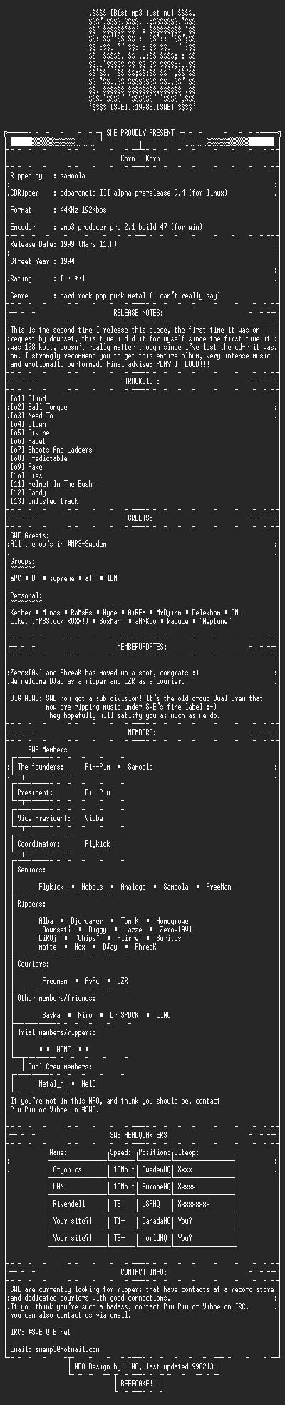 NFO file for Korn_-_Korn_-_SWE