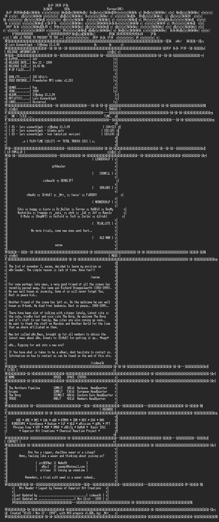 NFO file for Lars_Winnerback-Soendag13399-1999-WAX