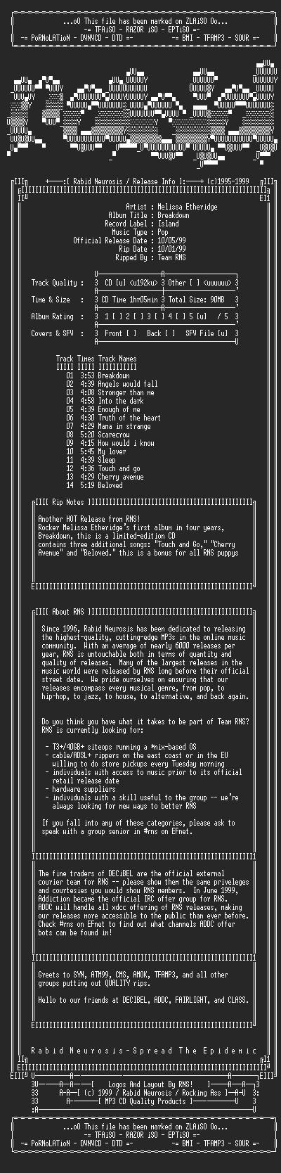 NFO file for Melissa_Etheridge-Breakdown-1999-RNS