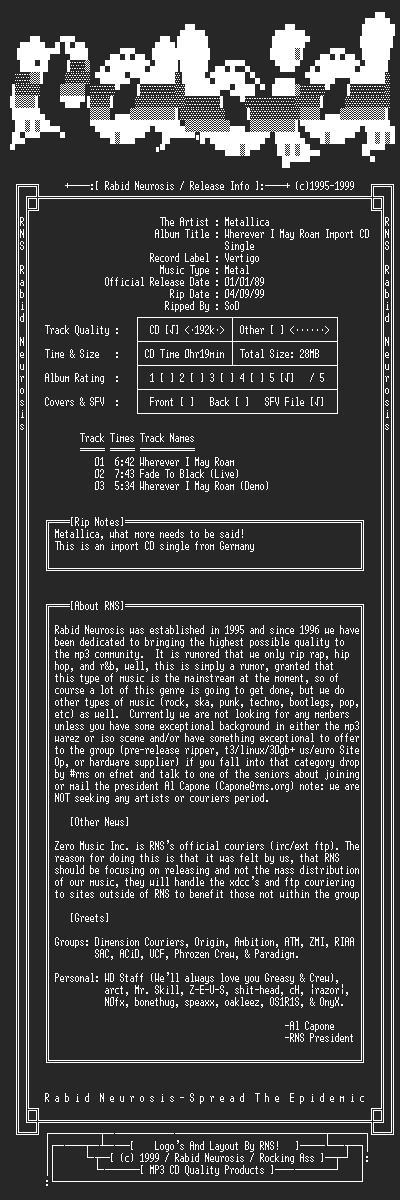 NFO file for Metallica-Wherever_I_May_Roam-Import_CD_Single-1992-RNS