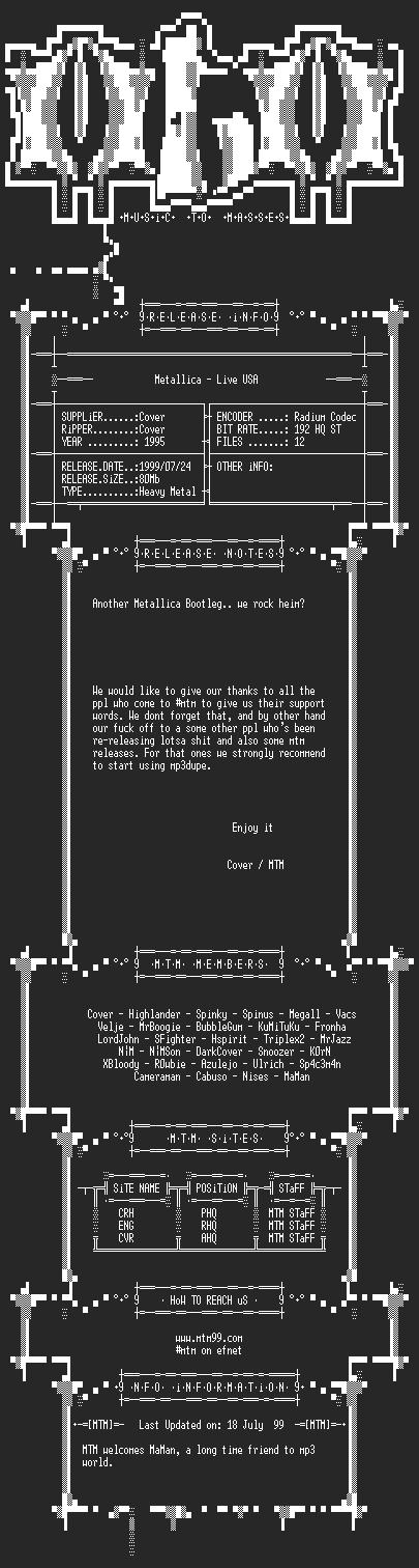 NFO file for Metallica_-_Live_USA_(1995)_-_MTM