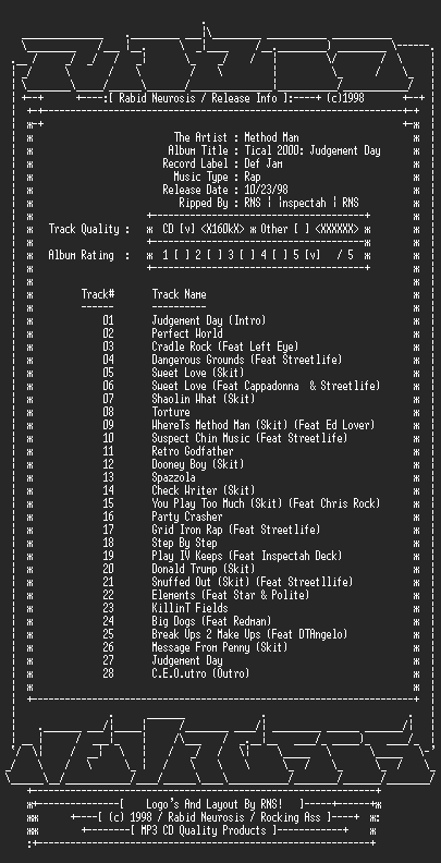 NFO file for Method_Man-Tical_2_Judgement_Day-1998-RNS