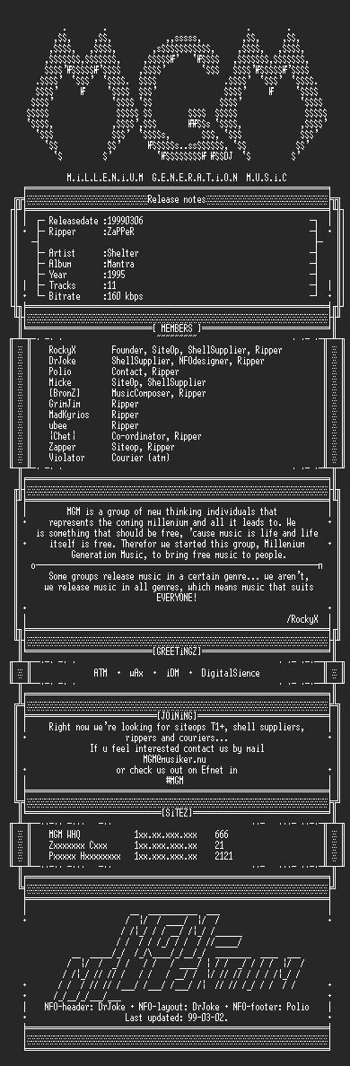 NFO file for Shelter_-_Mantra_(1995)-MGM