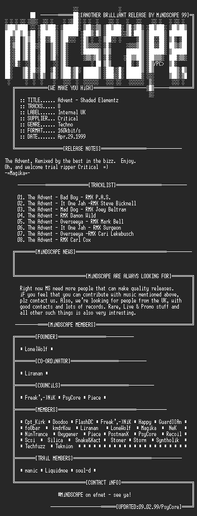 NFO file for The_Advent_-_Shadowed_Elementz-MS