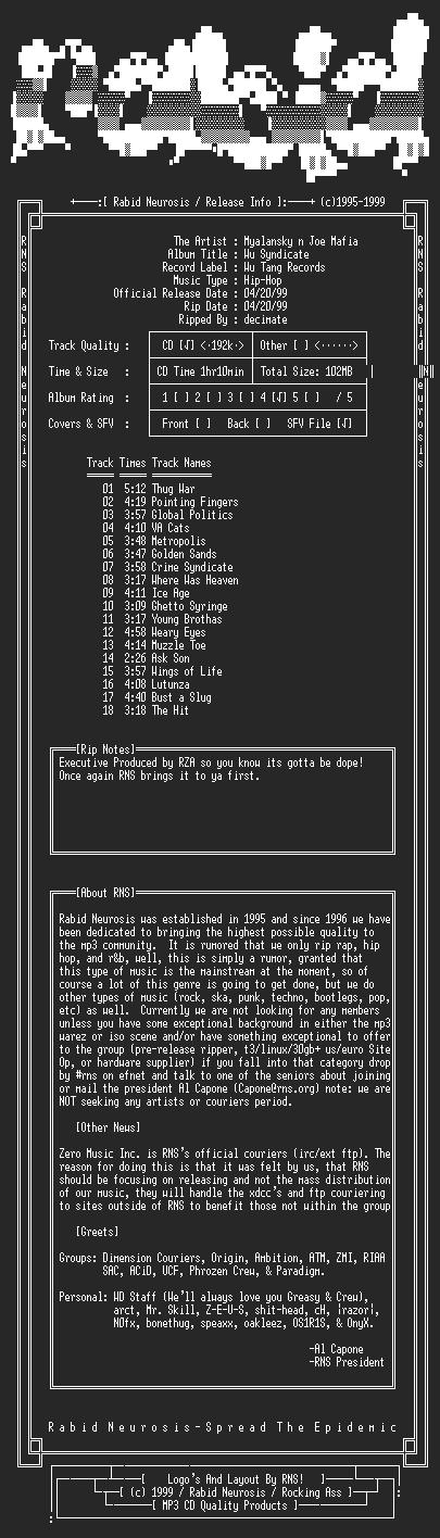 NFO file for Wu_Tang_Presents_Myalansky_n_Joe_Mafia-Wu_Syndicate-1999-RNS