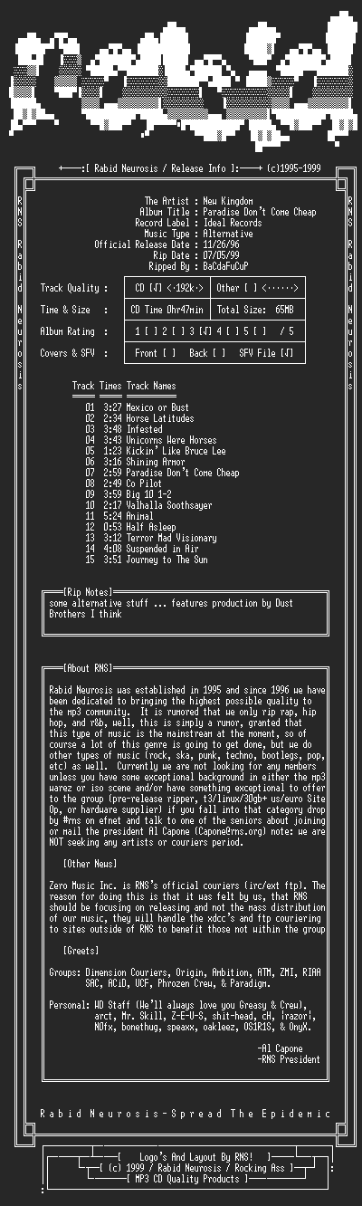 NFO file for New_Kingdom-Paradise_Dont_Come_Cheap-1997-RNS
