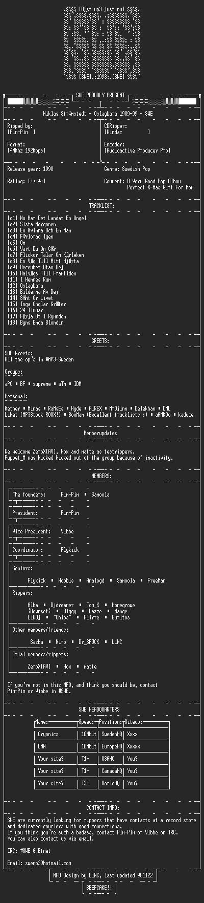 NFO file for Niklas_Strömstedt_-_Oslagbara_1989-99_-_SWE