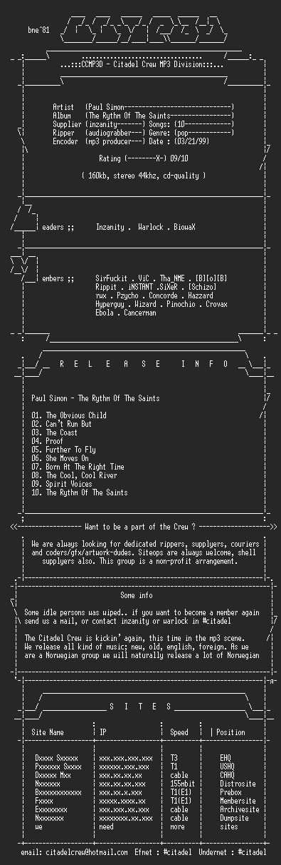 NFO file for Paul_Simon-The_Rhythm_Of_The_Saints-(1990)-CCMP3D