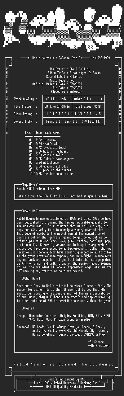NFO file for Phill_Collins-A_Hot_Night_In_Paris-1999-RNS