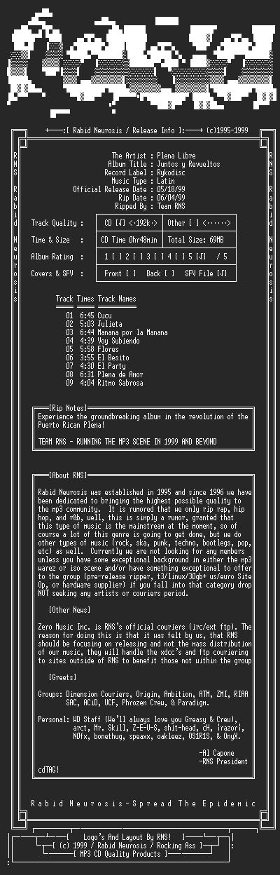 NFO file for Plena_Libre-Juntos_y_Revueltos-1999-RNS